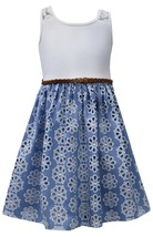 Bonnie Jean Little Girl 2T-6X Blue/ivory Lace Racerback Braided Belt Eyelet Cham