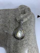 Vintage Real Mother Of Pearl 925 Sterling Silver Chandelier Earrings - $116.45