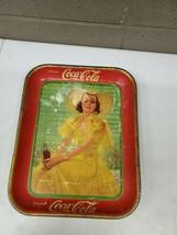 Original 1933 Coca Cola Tin Serving Tray Lady In Yellow Dress 13x10.5 (D... - $148.50