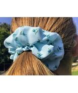 Handmade Light Blue with Flowers Medium Scrunchie - $3.50