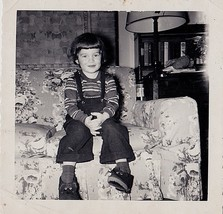 Antique Vintage Photograph Little Boy Wearing Overalls Sitting on Retro ... - $5.35
