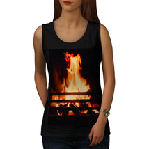 Burning Fireplace Tee Cozy House Women Tank Top - $12.99