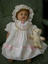 1920-30s 18-inch Composition Doll In White Dress-Bonnet - $75.95