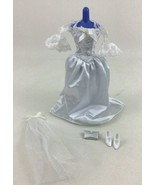 Barbie White Wedding Dress 4pc Lot Clothing Outfit Set Vintage 80s 90s M... - $17.77