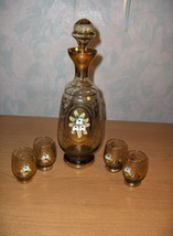 Vintage Murano Hand Blown Clear&Gold & Flowers Cordial Decanter Glasses ... - $133.65