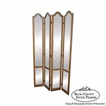 Hollywood Regency Mid Century Antiqued Mirror Folding Screen Room Divider - $1,295.00