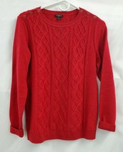 Talbots Petites Lambswool Blend Cable Knit Red Pullover Sweater Sz PM EU... - $15.45
