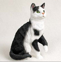 BLACK WHITE SHORTHAIRED TABBY CAT Figurine Statue Hand Painted Resin Gift - $16.74
