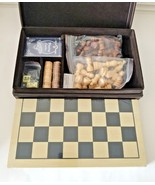 Chess Checker Backgammon Set ~ Fire Side Games~ Brown Leather-like Stora... - $31.14