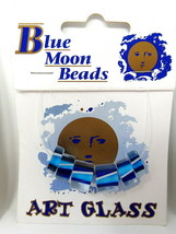 6 Blue Moon Glass Beads Clear Blue White 3 Sizes Strung on Card Craft Je... - $7.91