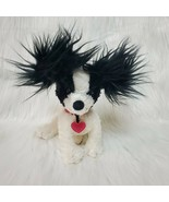 "6"" Hallmark Black & White Puppy Dog Furry Ears Tail Plush Pink Heart Col... - $10.97"