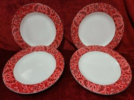 "Fitz & Floyd Omnibus Bandana Set of 4 Dinner Plates 10 3/4"" - $43.56"