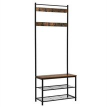 VASAGLE Industrial Coat Rack, Hall Tree Entryway Shoe Bench, Storage She... - $89.35