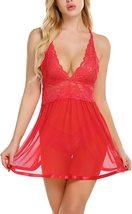 Plus Sizes Women Lingerie Lace Babydoll Strap Chemise Halter Teddy V Neck Sleepw image 11