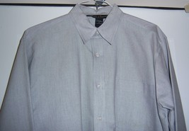 MARKS AND SPENCER Oxford Style Shirt Cotton blend L/S Gray Men's M image 2