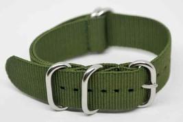 Watch Strap Zulu Nato Army Green Nylon Textile PVD 18 20 mm Strap Heavy Duty - $10.88