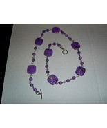 Handmade purple speckle beaded necklace - $18.00