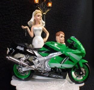 Kawaski Motorcycle Wedding Cake Topper Crotch Rocket