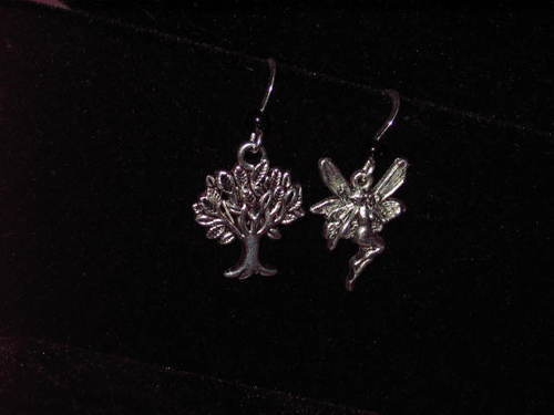 Earings - Haunted Gypsy Witch Fairy Fea & Tree of Life - Money, Luck, Love