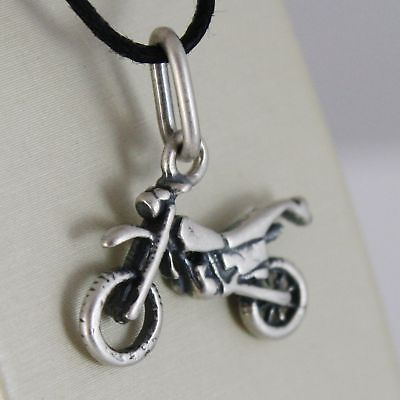 SILVER 925 PENDANT BURNISHED SHAPED MOTION, MOTORCYCLE WITH CORD