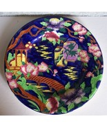 Maling Plate Tube-Lined Earthenware Cobalt Blue Vibrant Colors Chinese Lanterns - $99.98