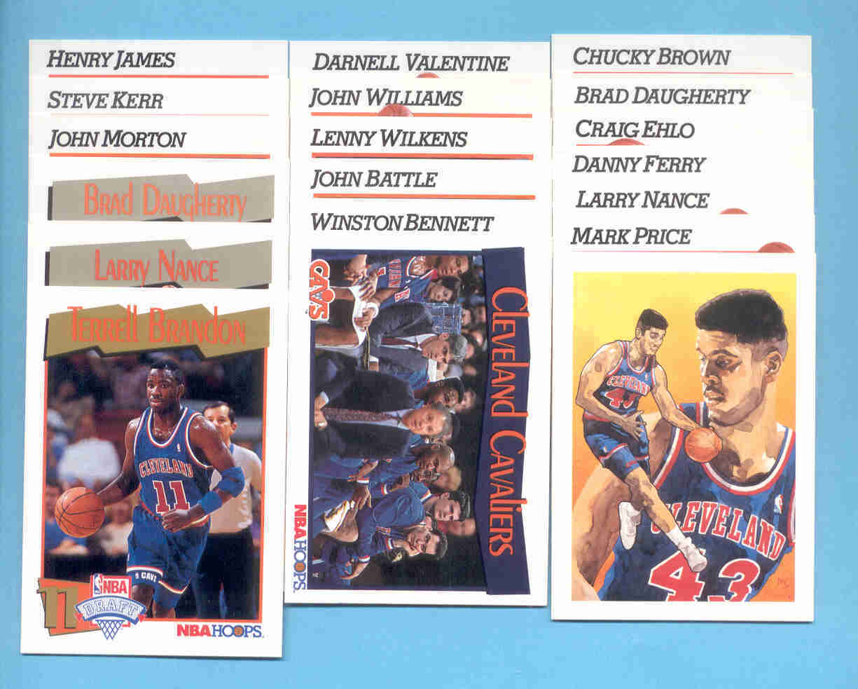 1991/92 Hoops Cleveland Cavaliers Basketball Team Set