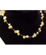 FW PEARLS   BRIDAL CLUSTER NECKLACE set yellow HANDMADE - $23.00