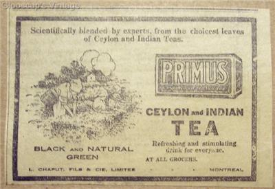 """Rare Primus Ceylon & Indian Tea """"Black & Natural"""" Ad"""