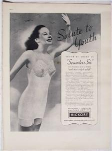 1937 Hickory Bra Girdles Salute to Youth Vintage Ad Life Magazine
