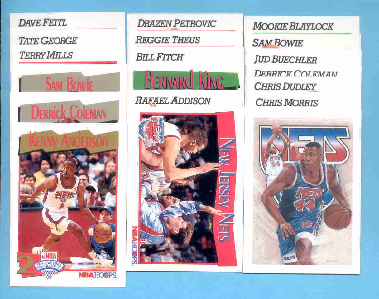 1991/92 Hoops New Jersey Nets Basketball Team Set