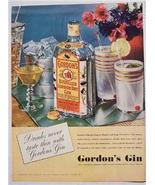 1937 Gordon's Distilled London Dry Gin Color Ad - $4.50