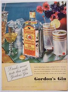 1937 Gordon's Distilled London Dry Gin Color Ad