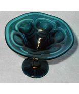 Old Vintage Aqua Art Glass Compote - $25.00