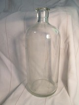 """Bottle Glass Clear Apothecary Owens Illinois Vintage 1943 Applied Mouth Round 9"""" - $26.10"""