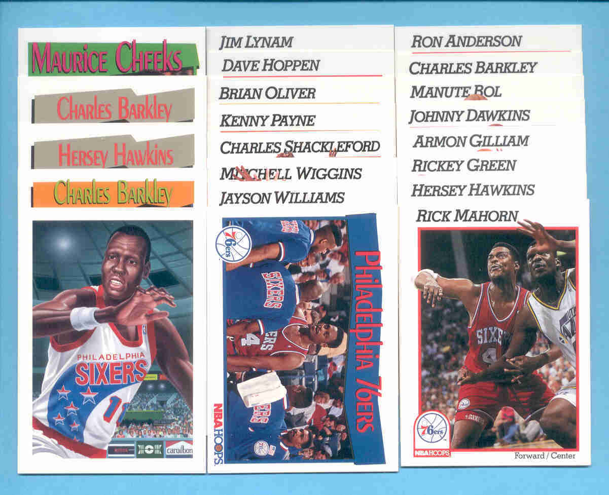 1991/92 Hoops Philadelphia 76ers Basketball Team Set