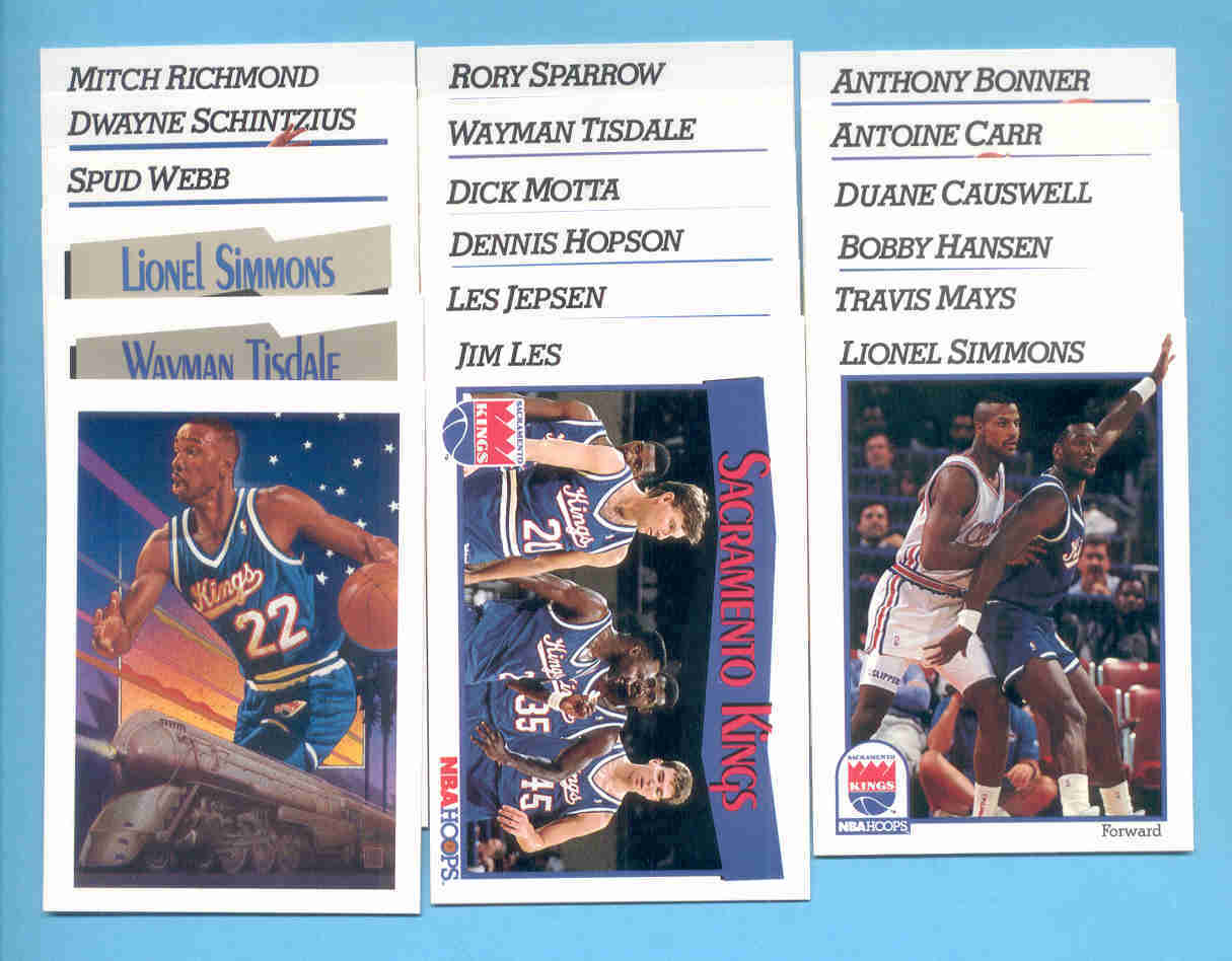 1991/92 Hoops Sacramento Kings Basketball Team Set
