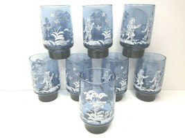 "8 VTG Libbey Mary Gregory Boy Girl Dog Blue 4 3/4"" Drink Glass 70s Flat Tumblers - $39.27"