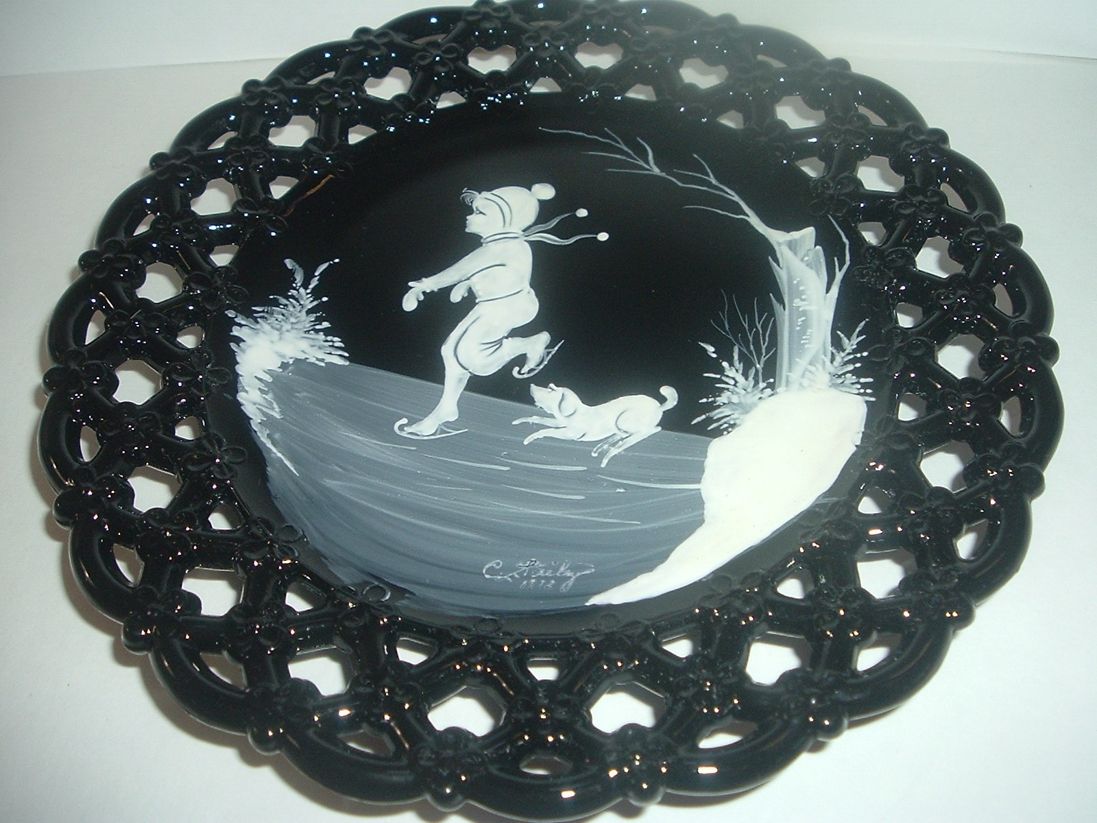Primary image for Westmoreland Glass Mary Gregory Boy Ice Skating with Dog Artist Signed Plate