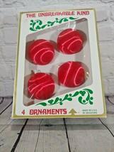 Vintage Bradford The Unbreakable Kind Satin Plastic Red Ornaments Set of 4 - $29.69