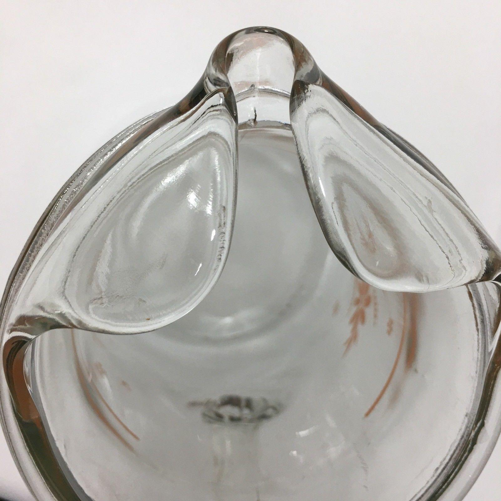 Vintage Glass Pitcher With Peach Orange Flower Design Water Ice Tea Floral