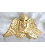 Fantastic Chrystal Rhinestone Golden Angel Broo... - $29.95