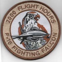 """4"""" Air Force F-16 2000 Hours Fighting Falcon Desert Hook Loop Embroidered Patch - $18.99"""