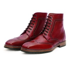 Handmade Men's Red Leather Wing Tip Brogues Style High Ankle Lace Up Boots image 1