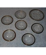Antique Six Sterling Rimmed Engraved Crystal Butter Pats - $27.95