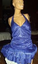 Sexy,Sparkly Midnight Blue Halter Dress-Size Medium-The BEST - $106.25