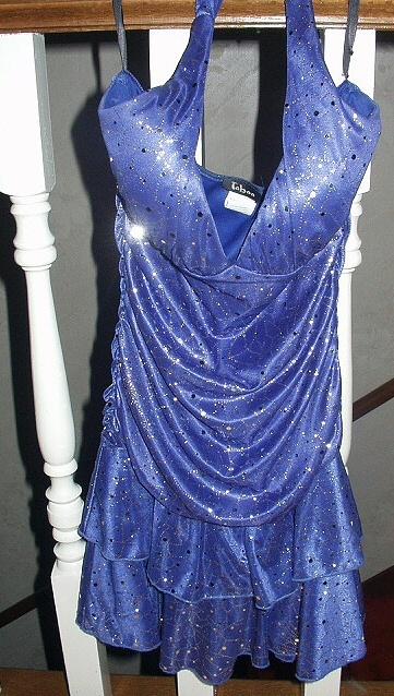 Sexy,Sparkly Midnight Blue Halter Dress-Size Medium-The BEST