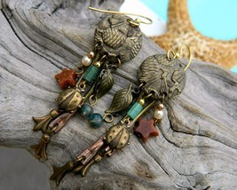 Pine Cone Ladybug Dangle Earrings Pierced Stars Brass Copper - $17.95