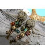 Pine Cone Ladybug Dangle Earrings Pierced Stars Brass Copper - $17.95