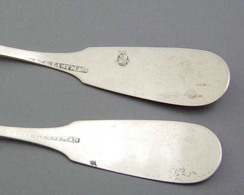 2 Antique coin silver spoons by Seth Eastman  (1801-1885)