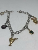 Vintage Charm Bracelet 925 Sterling Silver Deco Genuine Mixed Stones - $163.35